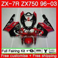 Body For KAWASAKI HOT red black NINJA ZX 750 ZX 750 ZX 7R 96 97 98 99 3SH15 ZX 7R 7 R ZX750 ZX7R 1996 1997 1998 1999 Fairing kit