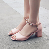 Pink Rhinestone Sandals High Heel Shoes Ladies Summer Fashion Square Heel Ankle Strap Buckle Women Pearl Sandals White 34~39