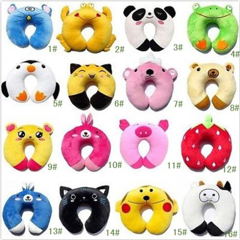 Plush Toys Baby Cartoon U-shape Pillow Neck Car Seat Travel Neck Rest Soft Plush Toy Pillow Free Shipping