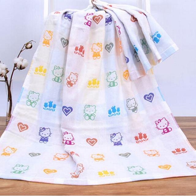Baby bath towel 70*140 cm 100% algodão de três camadas de gaze towel bebê recém-nascido de algodão cobertor do bebê dos desenhos animados menino produto do banho de menina