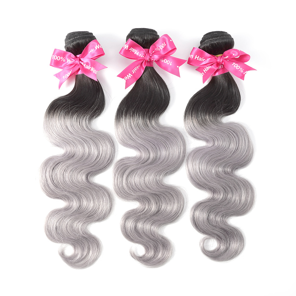 Luvin Ombre Silver Grey Brazilian Hair Body Wave 100 Remy Human Hair Weave Bundles Color T