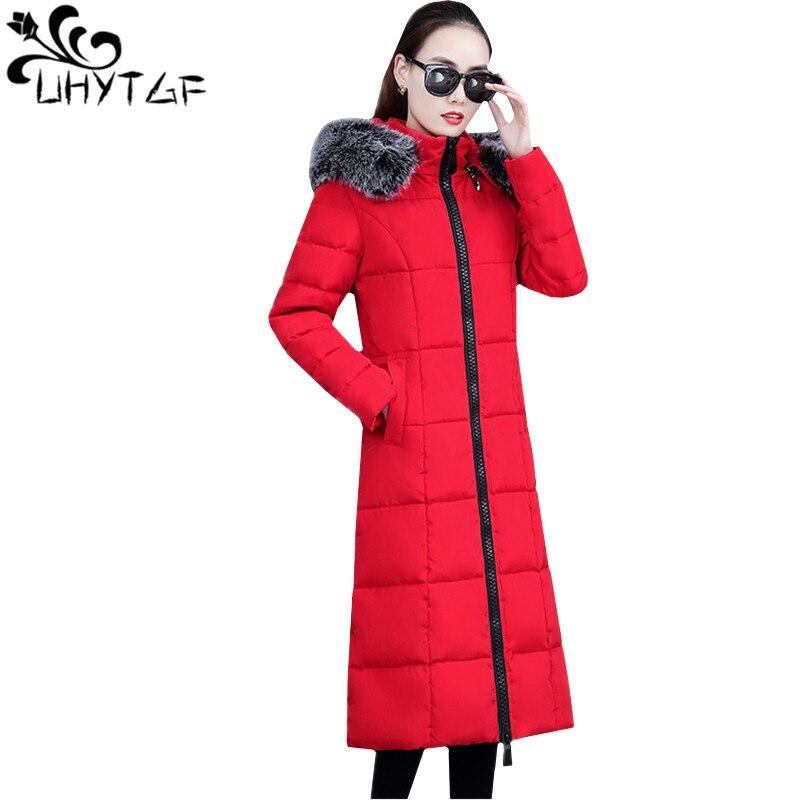 UHYTGF Winter Down Cotton Women Hooded Coat fur collar Thicken Warm Long Jacket female plus size   Parka   Coat chaqueta feminino588