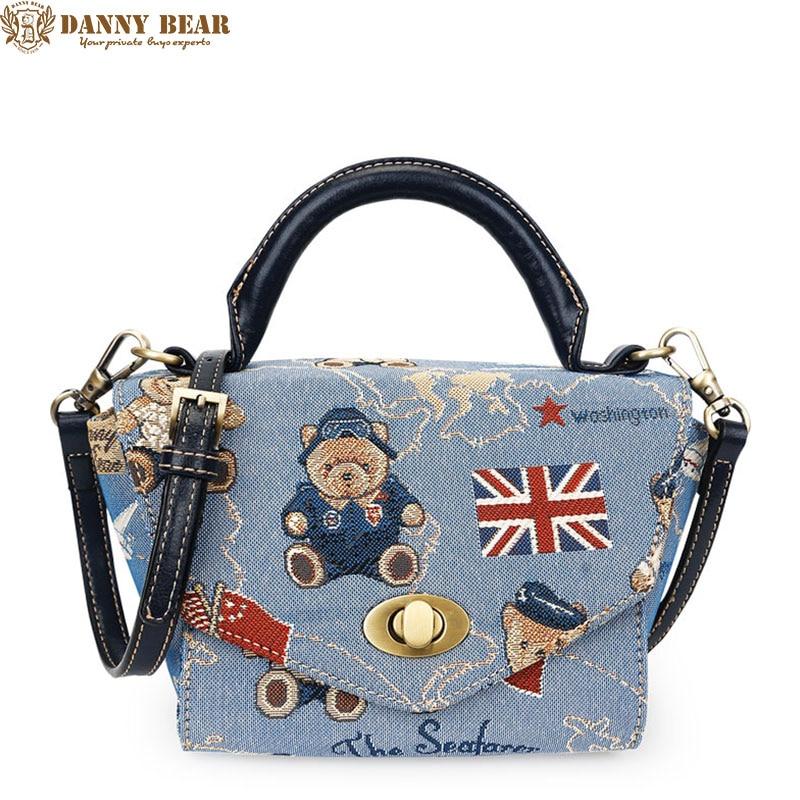 Danny Bear Для женщин Сумки синий небольшая сумка Сумки через плечо Винтаж сумка для подростка Обувь для девочек Kawaii школьная сумка