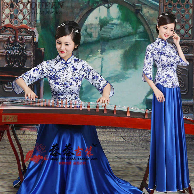 Chinese folk dance costume clothing hanfu ancient fan dance traditional Chinese dance costumes Stage dance wear AA3214