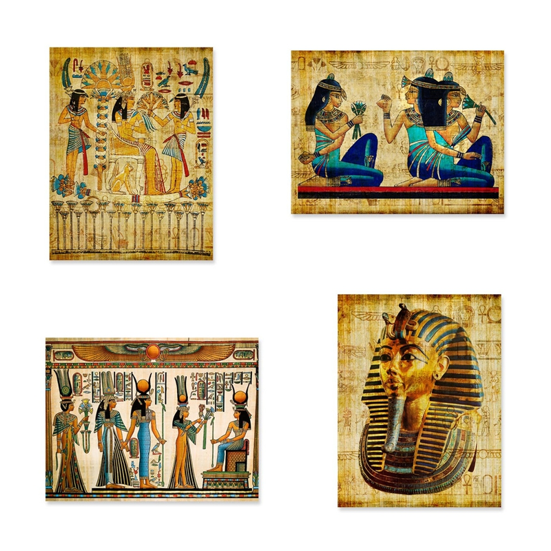 Egypt Wall Art Canvas Painting Parchment Paper Style Old Antique Poster Prints Retro Egyptian Picture Wall Decor King Tut Queen