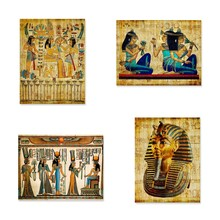 Egypt Wall Art Canvas Painting Parchment Paper Style Old Antique Poster Prints Retro Egyptian Picture Wall Decor King Tut Queen(China)