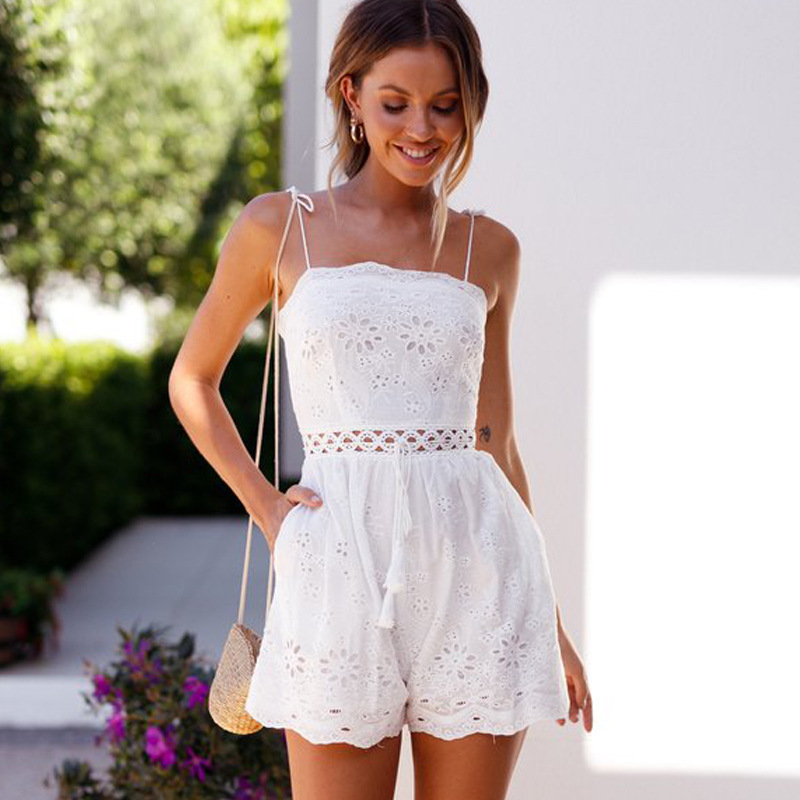 MUXU white sexy backless jumpsuit summer romper combinaison femme sexy europe and the un ...
