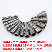 1pc magnetyczny śrubokręt nasadkowy zestaw gniazd metrycznych 6mm ~ 19mm nakrętki udarowe 6.35mm uchwyt sześciokątny Adapter wiertła centrującego