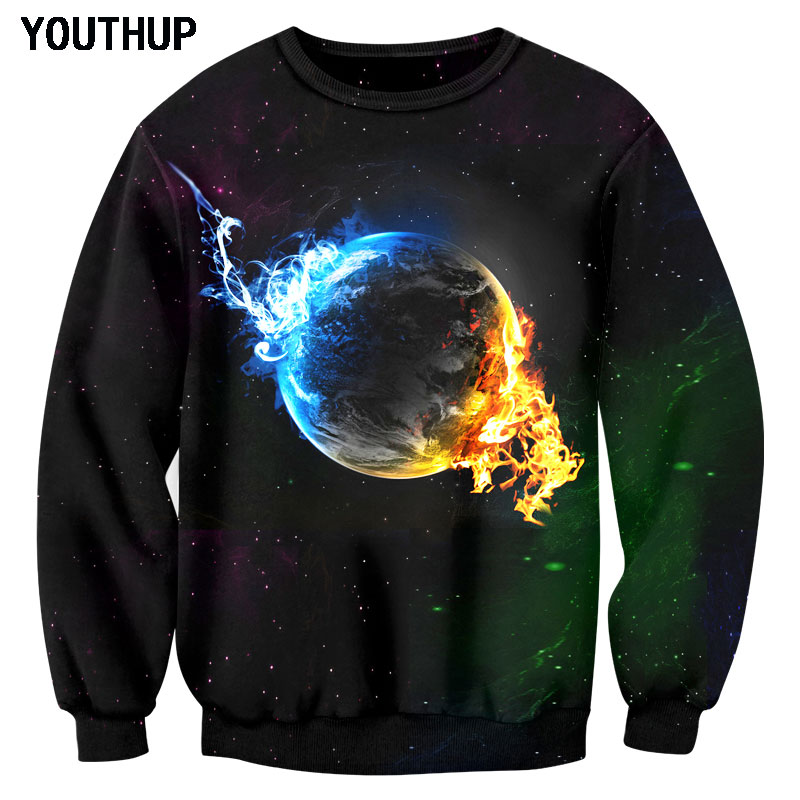 Youthup Plus Size 2018 Men Hoodies And Sweatshirts Casual Loose Pullover 3D Printing Ice Fireball Long Sleeve O-Neck Men Tops