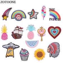 ZOTOONE Iron on UFO Flower Heart Patches for Clothing DIY Motif Stripes Clothes Stickers Pineapple Badges