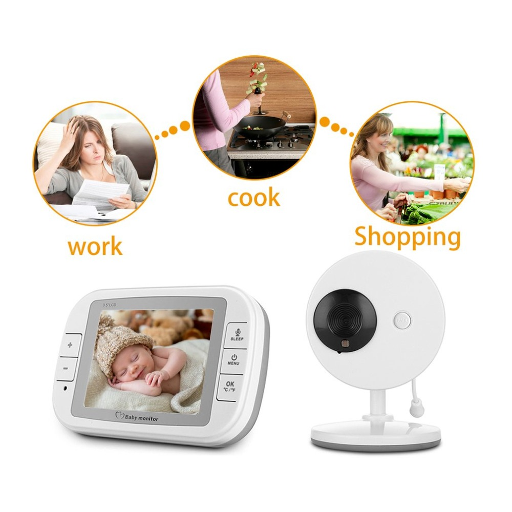 2.4G Wireless Digital 3.5 LCD Baby Monitor Camera Audio Talk Video Night Vision High Resolution Home Security