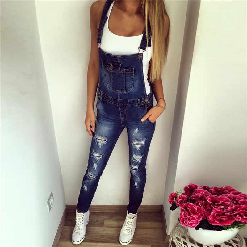 79ae3ea7d45 Fetoo New Fashion Casual Boyfriend Ripped Jeans Jumpsuit Romper Women Pants  Hole Skinny Sleeveless Denim Overalls