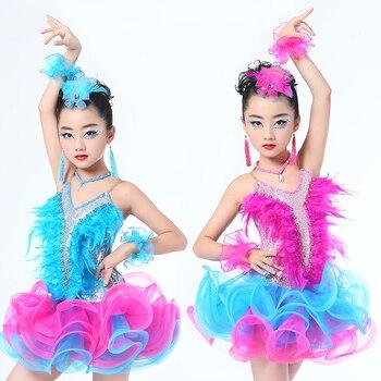 629261d27fb Vestido de baile latino profesional para niñas vestidos de competición de  baile de salón para niños modernos vals/tango/Cha