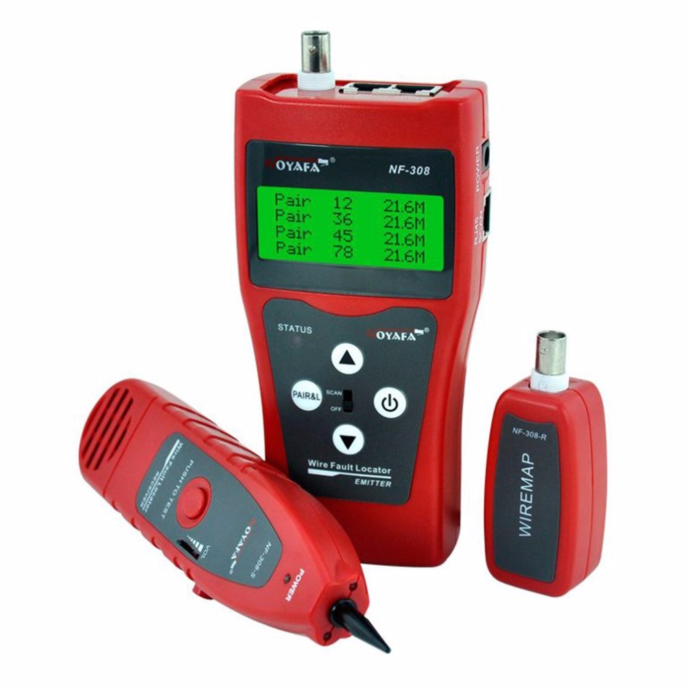 Noyafa NF-308 Multipurpose LCD Display Network Telephone Cable Tester Tracker Line Finder Wire Tester Cable Locator network wire tracker nf 806b handy support trace telephone wire lan cable free shipping not include battery