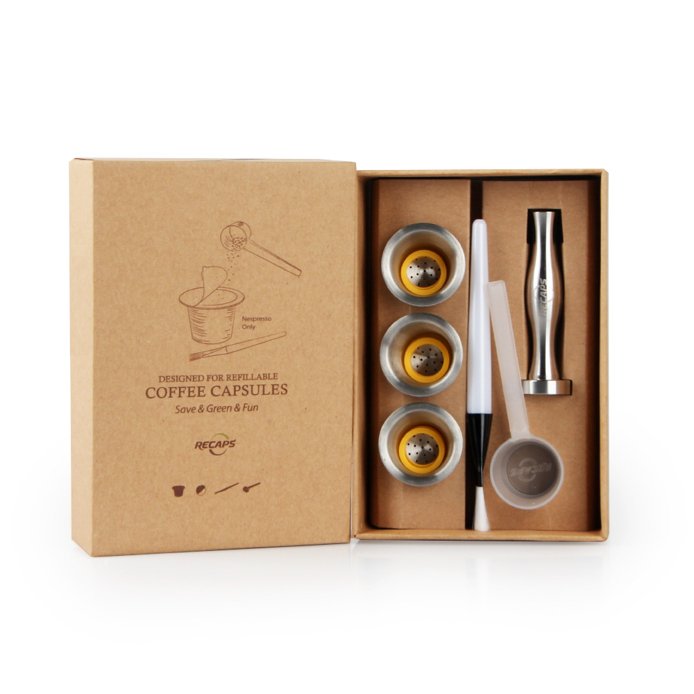 Recaps In Acciaio Inox Riutilizzabile Capsule di Caffè Riutilizzabile Baccelli per Nespresso Macchine (OriginalLine Compatibile)