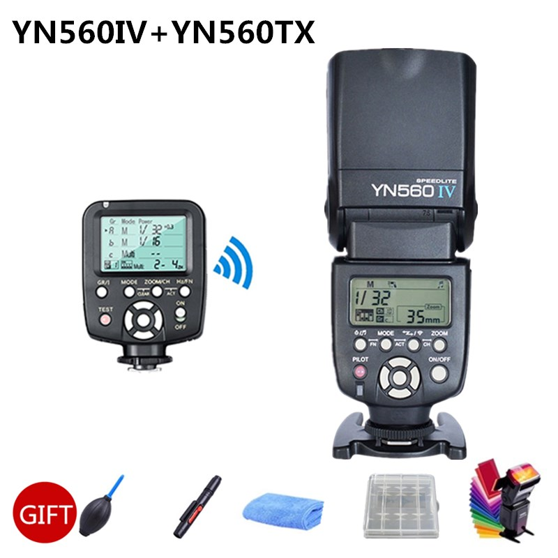 цена на Yongnuo YN560IV YN560 IV YN560 2.4G Wireless Flash Speedlite + YN560TX ii flash Trigger for Canon Nikon Camera