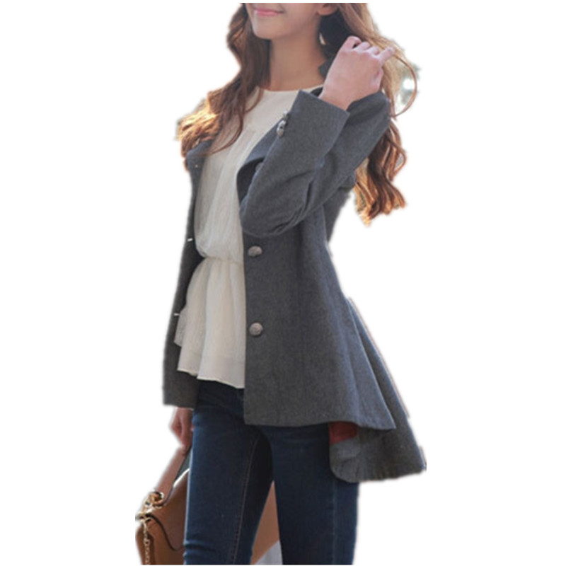 2016 Tuxedo Feminine Coat Autumn Slim Woolen Trench Coats ...