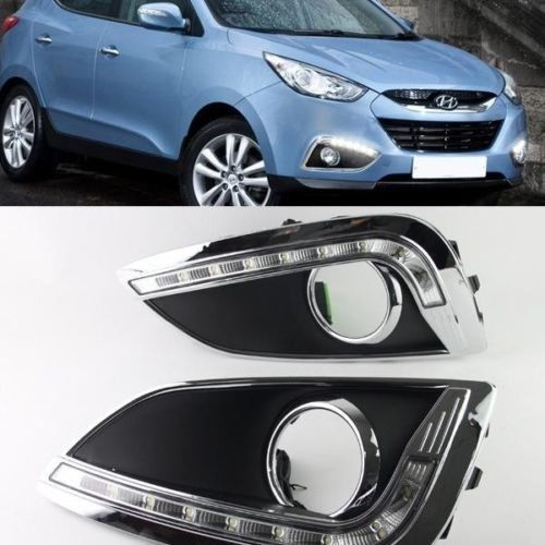LED Daytime Running bump Fog Light Lamp DRL For Hyundai ix35 2010 2011 2012 2013 2014 auto car led white drl driving daytime running light fog lamp daylights for hyundai ix35 2014 2017 2pcs free shipping d35