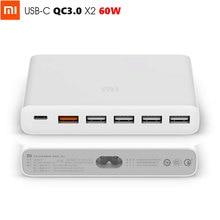 オリジナルxiaomi usb充電器60ワット最大スマート出力1タイプc 6ポート5 USB Aデュアルqc 3.0急速充電18ワットx2 24ワット
