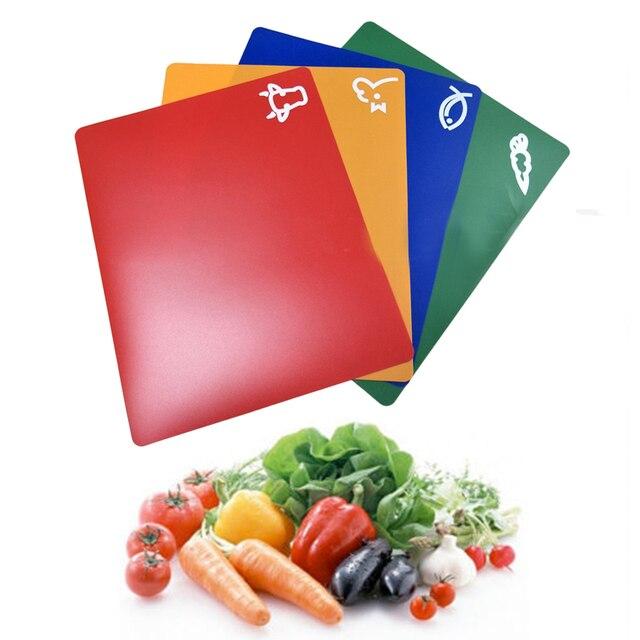4 PCS Classification Chopping Block PP Anti-slip Rectangle Cutting Board 2