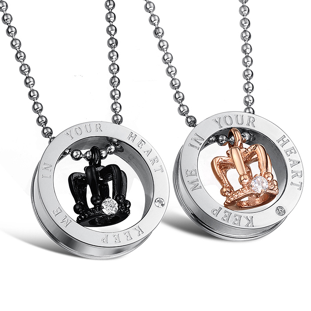 1e54b39882 King & Queen Couple Necklace Glossy Titanium Steel Crown Pendant Necklace  Girlfriend Boyfriend Romantic Birthday Gift Hot Sale