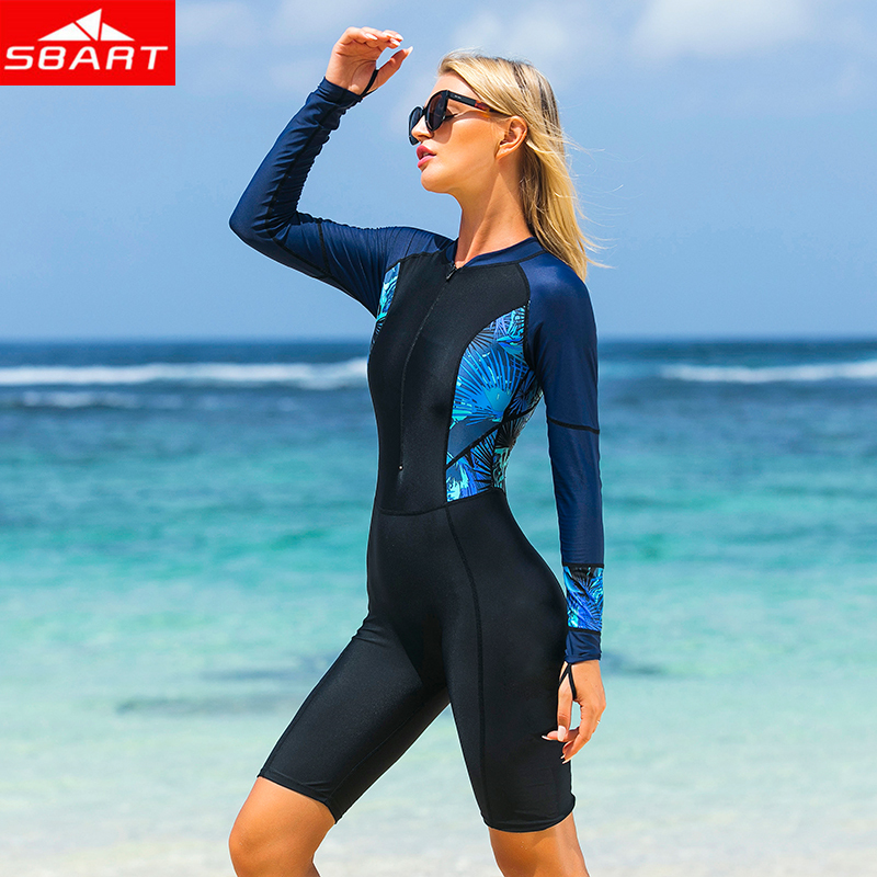 SBART Women Lycra Wetsuits Anti-UV One-Piece Long Sleeve Wetsuit for Swimming Snorkel Scuba Diving Lycra Wet Suits Beach Clothes hot men women summer lycra swimming caps anti uv sunscreen nylon mask facekini head ear long hair protection diving hats i