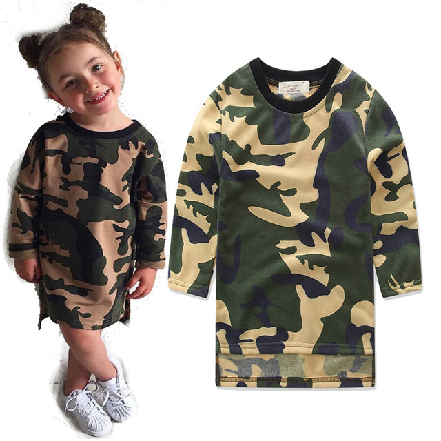 fbff433406d Baby Girls Clothes Cheap Long Sleeve Camouflage Dress Kid Loose Straight  Children Casual Style Shirt Toddler Dresses AT113