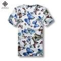 2016 Hombres Del Verano Camisetas de Los Hombres de Moda Casual Slim Fit Grande tamaño Masculino de Manga Corta Con Cuello En V T-shirt Camisa Camisetas de Deporte