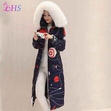 2016 New Women Winter Down Parka Black White Blue Long Jacket Coats Warm Big Fur Collar Hooded Cotton Inside Outwear  Windproof