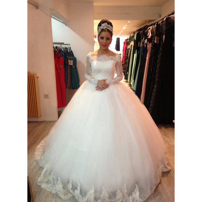 Vestido De Noiva 2015 Lace Long Sleeve Puffy Wedding Gown 2016 Custom-made Tulle Bridal Wedding Dress