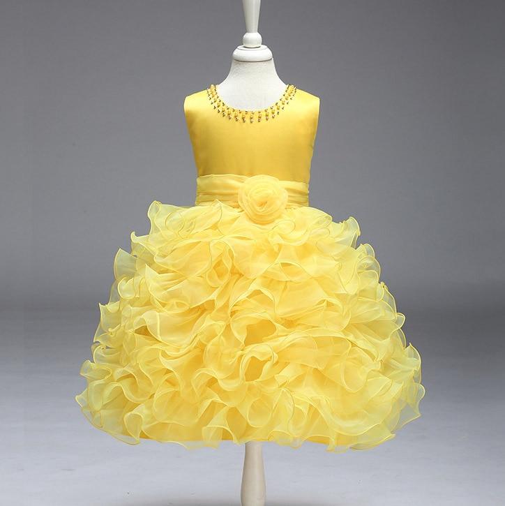 Girls Wedding Birthday Party Dress Tutu Princess Flowers Layered Frocks Baby Yellow vestido infantil para festa 2 4 6 8 10 Years коктейльное платье brand new 3 4 vestido festa j008
