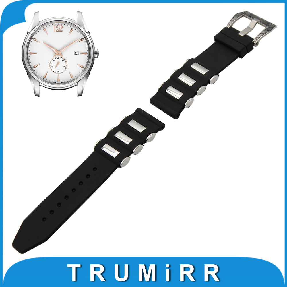 21mm 22mm 23mm 24mm Silicone Rubber Watch Band  for Hamilton Stainless Steel Carved Pre-v Buckle Strap Wrist Belt Bracelet Black t rrce expert black silicone rubber strap t048 watch band for t048417a 21mm
