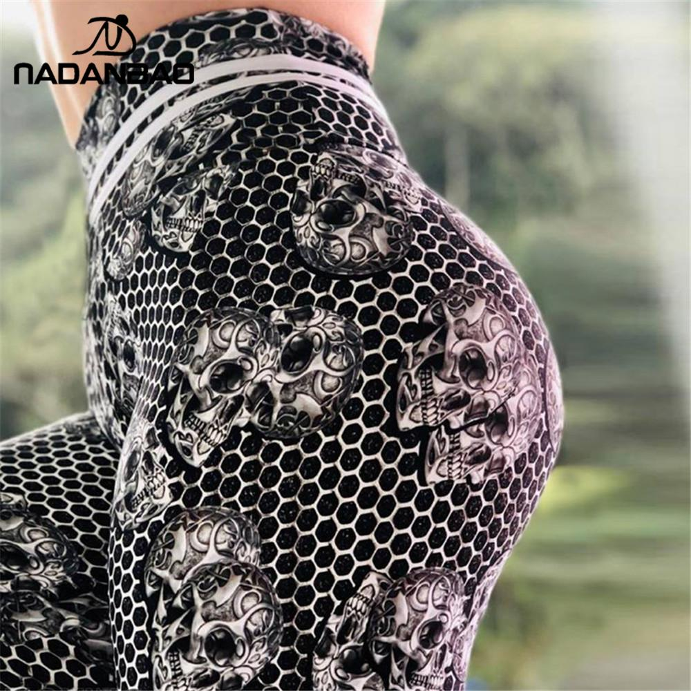 NADANBAO Classic Skull Women Leggings Sporting Pants For Fitness 3D Printing Honeycomb Workout Elastic Running Legging