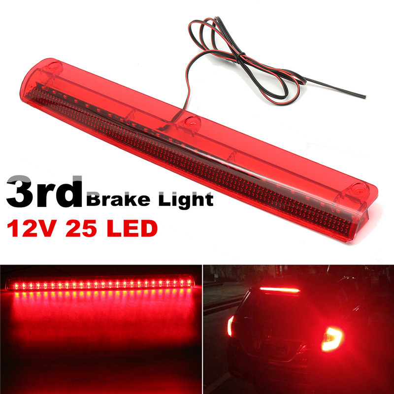 Universal Car 25 LED High Mount Level Motorcycle Tail Light Third 3RD Brake Stop Rear Tail Light Lamp 12V Red 50w 25 led red
