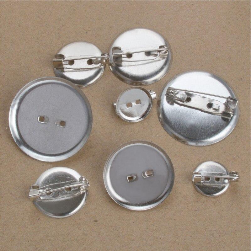 50 шт., зажимы для брошки 13 мм 20 мм 25 мм, дисковая основа, пустая основа для кабошона, подносы, планка для значка, корсета, изготовление ювелирны...
