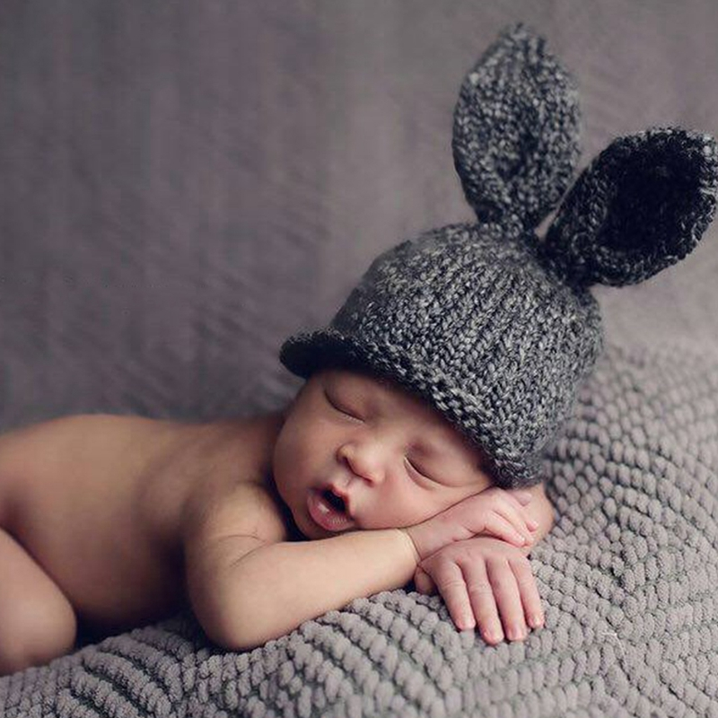 Hat Knitted Beanie Hat Crochet Bunny Costume Baby Newborn Photography Props-P101