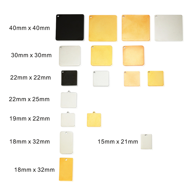قوالب نقش مجانية من pwongingcharm 30 قطعة/الوحدة تُصمم حسب الطلب حسب تصميمك على شكل مربع قابل للنقش وسحر مستطيل وسلسلة مفاتيح وفراغات