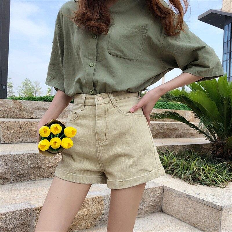 Harajuku 2019 New Summer High Waist Denim   Shorts   Women Casual Loose Ladies Fashion Roll Up Hem Pocket Black Khaki Jeans Female