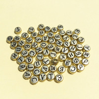 Wholesale 3400PCs Gold Color Acrylic Russian Letter Beads DIY Jewelry Spacer Beads Flat Coin Round Shape