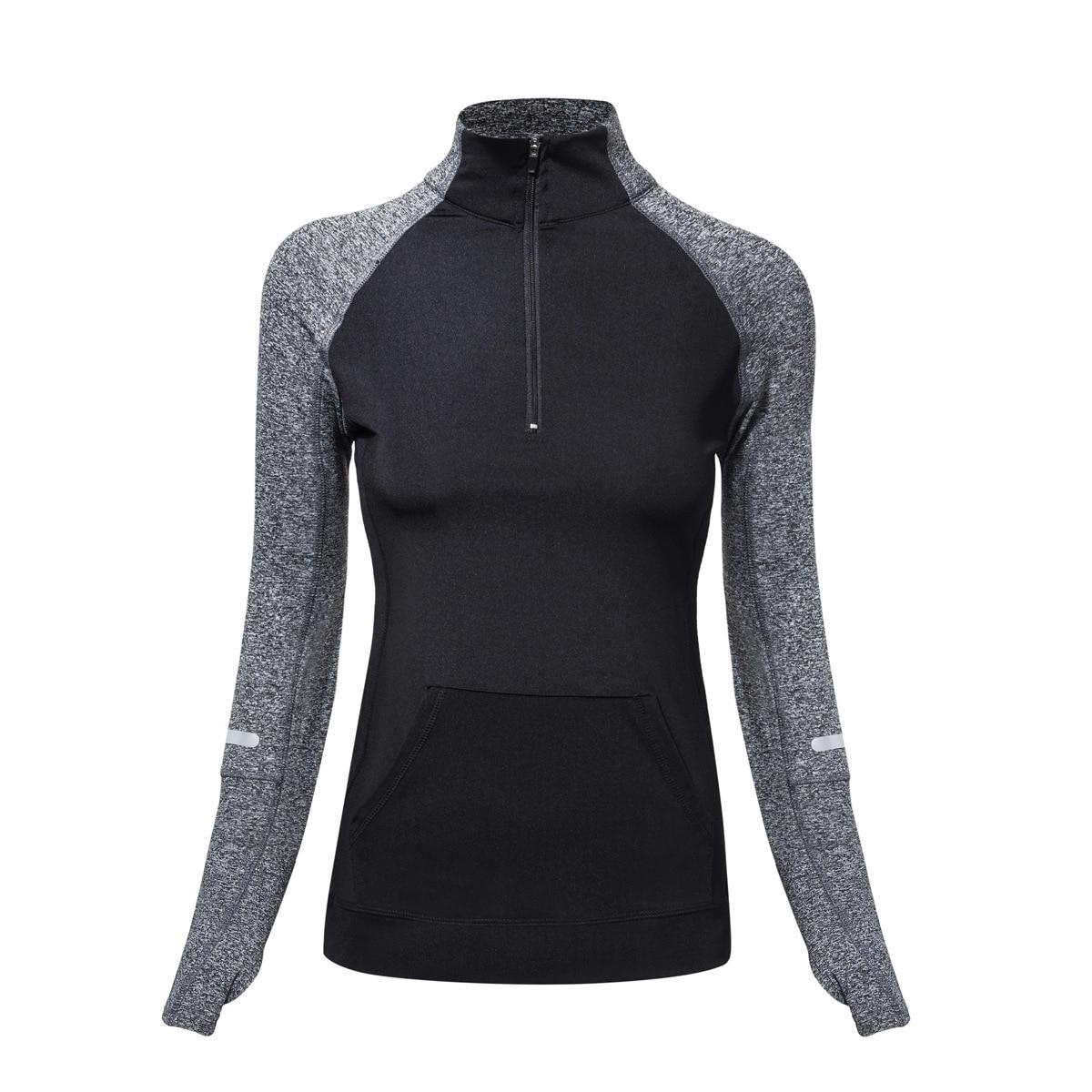 2018 New Women Sport Jacket Quick-dry Long-sleeved Running Gym Sweatshirt Cloth Fitness Zipper Jacket Outerwear Chaquetas