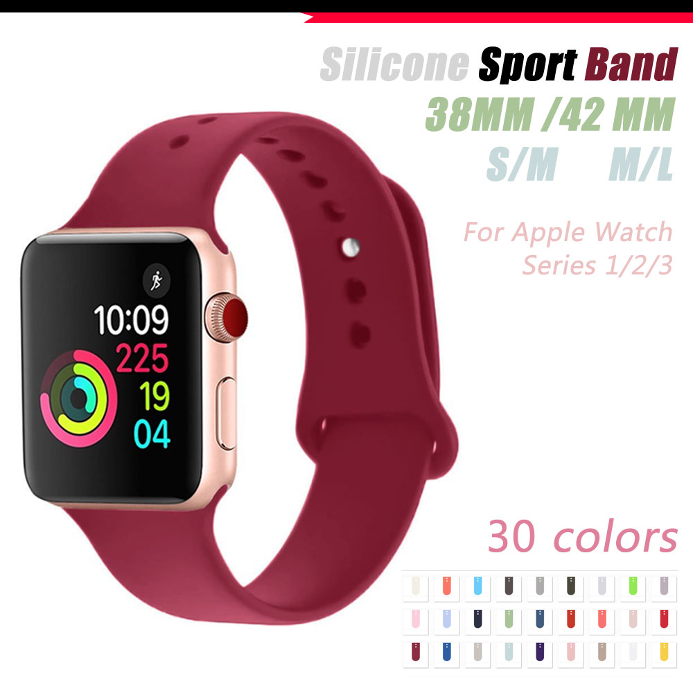 New Colors Dark Olive/Rose Red/Cocoa/Pink sand Silicone Strap For Apple Watch Band 42mm 38mm Series 3 & 1 & 2