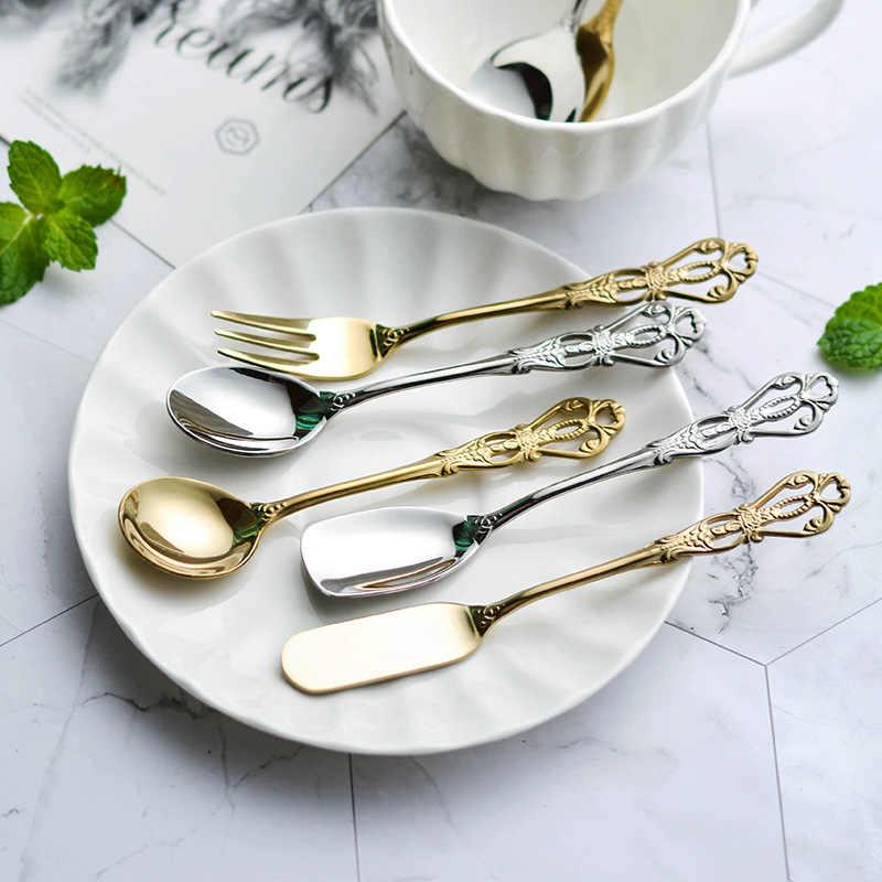 Stainless Steel Flower Teaspoons Tea Spoons Cutlery Desert Coffee Set Golden