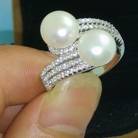 Victoria Wieck Brand Valuable Pearl Topaz Gemstones 925 Silver Engagement Wedding Ring Size 5 10 Free