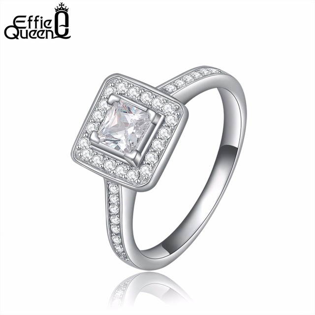 Effie Queen Elegant Wedding Ring for Women Princess Cut Surrounded by AAA Austrian CZ Jewelry DR41