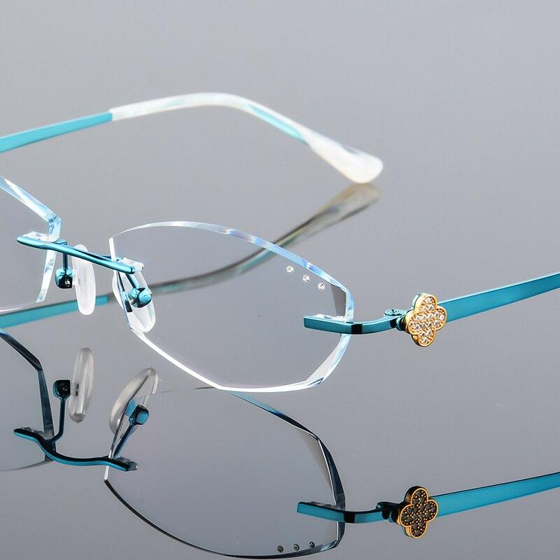 Pure Titanium Eyeglasses Rimless Optical Frame Prescription Spectacle Frameless Glasses For Women Eye glasses myopia Hyperopia rimless cat eye glasses