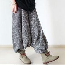 Свободные толстые зимние штаны-шаровары размера плюс в стиле ретро, повседневные брюки с эластичной резинкой на талии, теплые льняные штаны, женские брюки