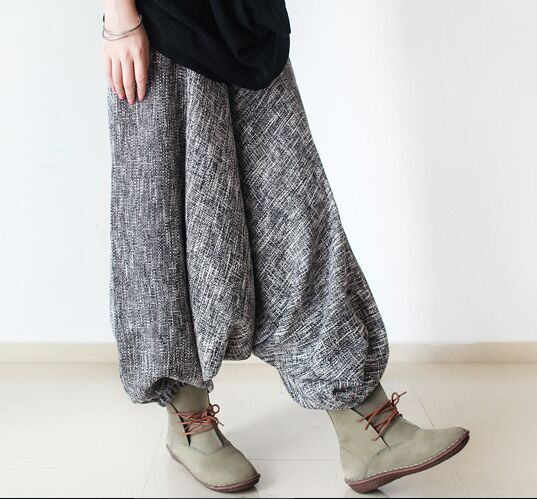 Plus Size Loose Thick Winter Retro New Harem Pants Causal Elastic Waist Trousers Warm Linen Personality  Pantalons Femme Mujer
