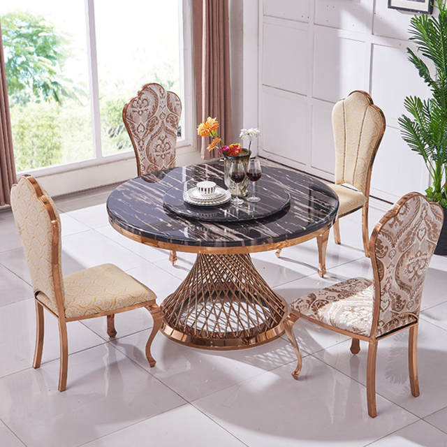Dining Room Sets.Us 1044 05 5 Off Stainless Steel Dining Room Set Home Furniture Minimalist Modern Marble Dining Table And 4 Chairs Mesa De Jantar Muebles Comedor In