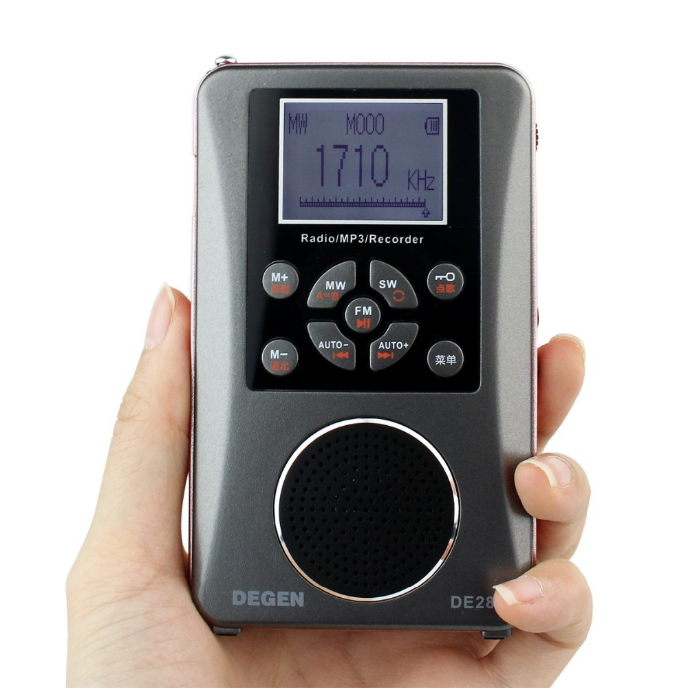 Degen DE-28 FM/MW/SW FM Radio Full-Band Short Wave Radio Support Large Size LED Backlit Dot Matrix Display Y4219A full band portable radio degen de29 fm am digital tuning clock beautiful sound rechargeable mp3 player radio dot matrix screen