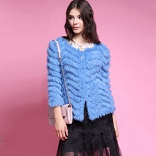 Hot Selling Spring Autumn 2016 New Genuine Knitted Rabbit Fur Jacket For Women Long Coat Free Shipping Real Fur Outwear Overcoat